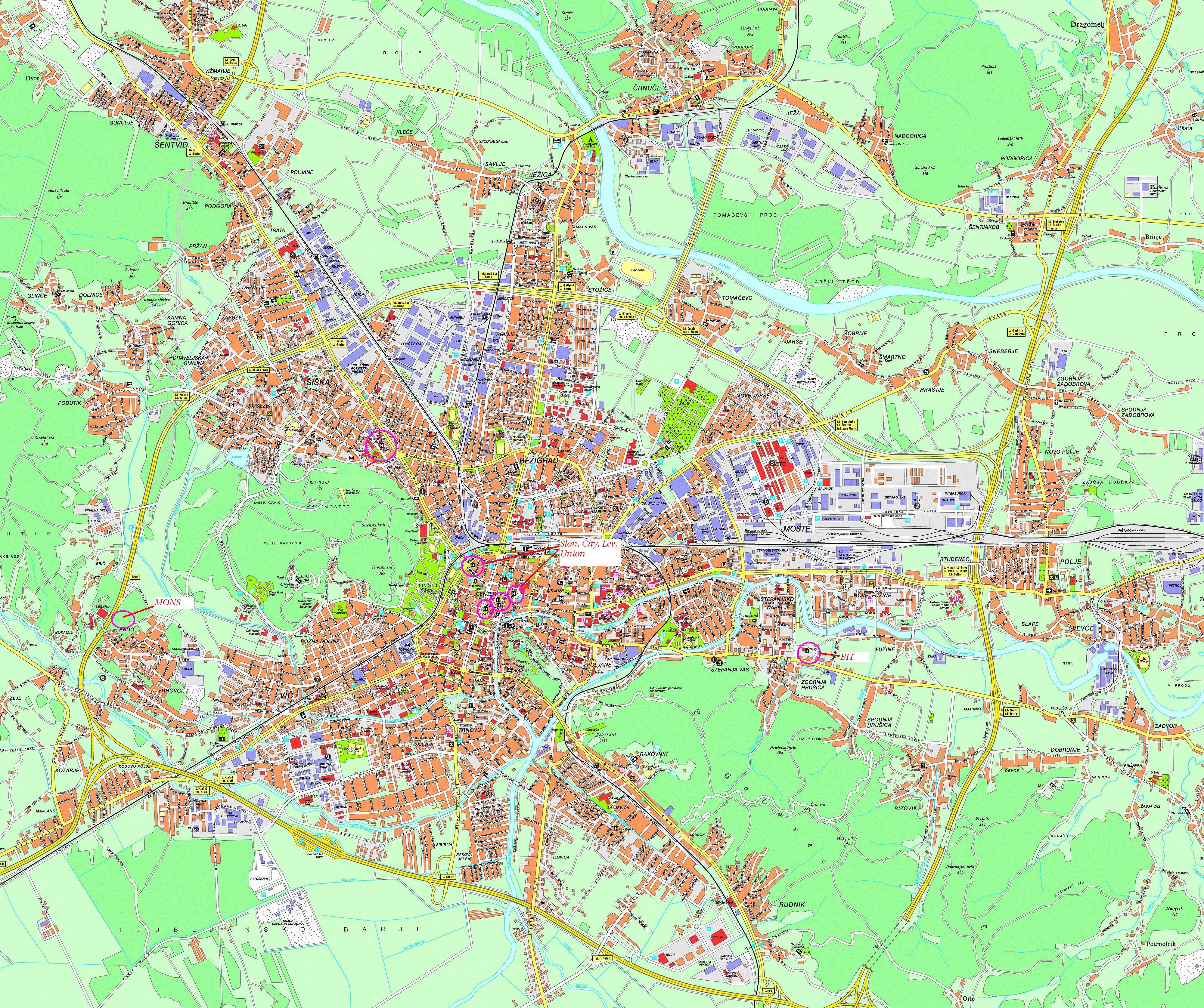 Plan Ljubljana carte