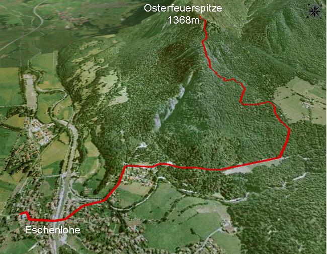 Wegskizze Eschenlohe Osterfeuerspitze