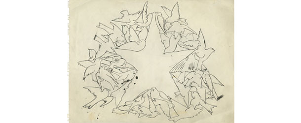 Andy Warhol (1928-1987) n.t. (Star Of Birds), ca. 1957  ink and graphite on paper 45,4 x 60,7 cm