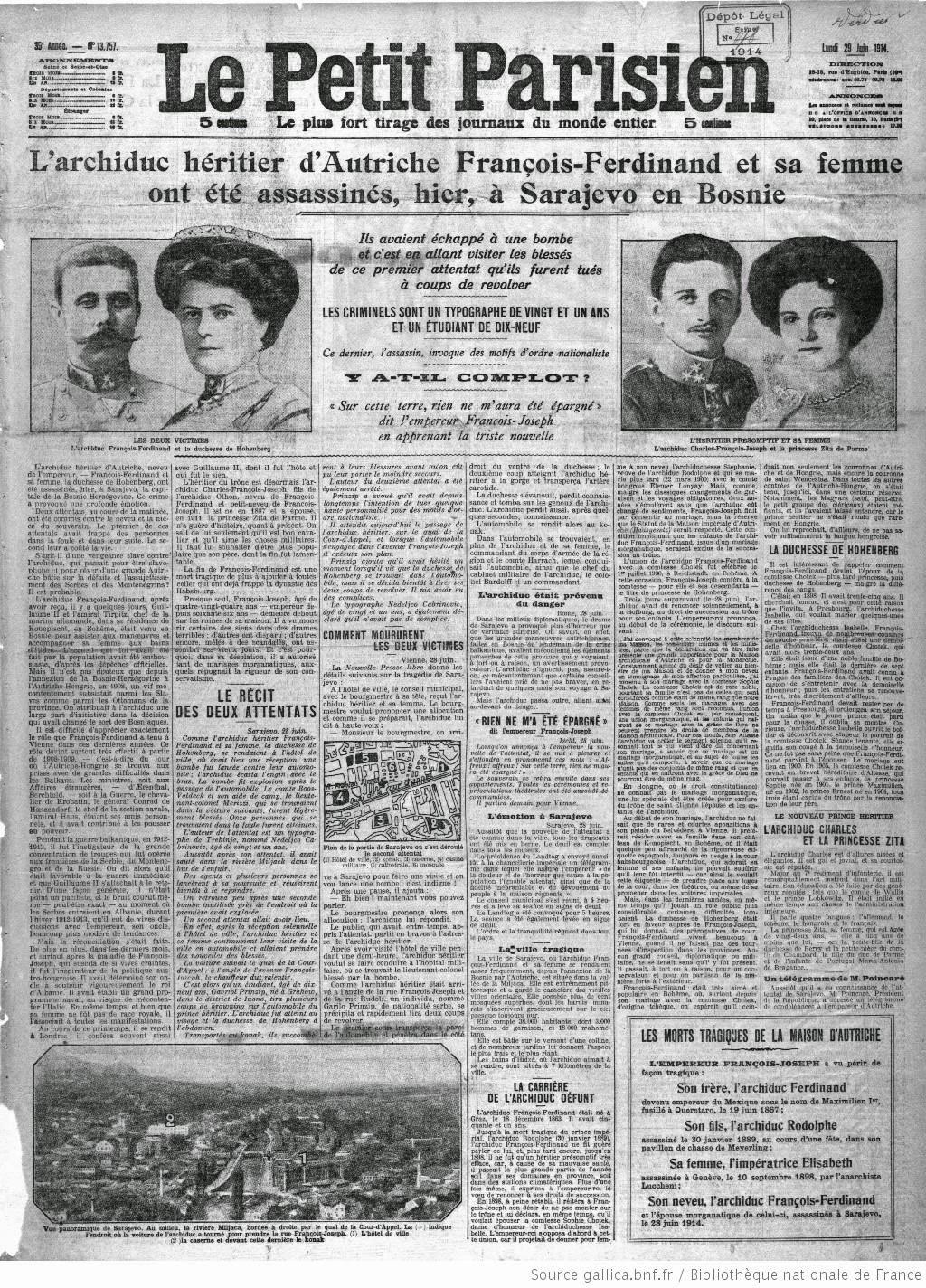 Attentat de Sarajevo du 28 Juin 1914 : vers la montée de la 1ère Guerre mondiale? 5