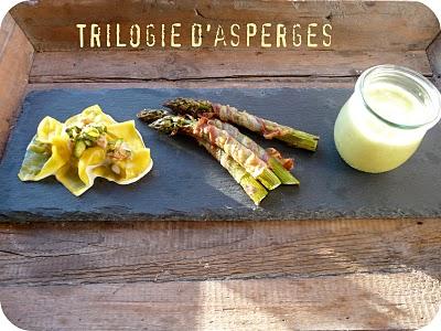 Trilogie d'asperges vertes croustillantes, en raviolis et en soupe 2