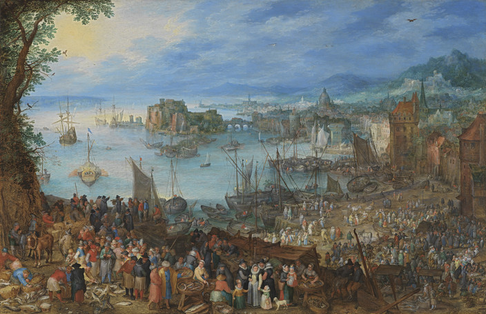 Jan Brueghel the Elder Large Fish Market, 1603