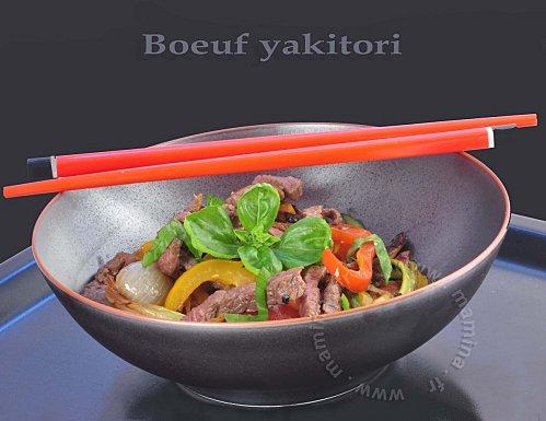 boeuf yakitori sauté aux deux poivrons recette japonaise