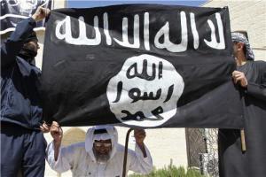 """Le drapeau salafiste, sur lequel est écrit : """"Il n'y a de dieu que Dieu et Muhammad est son prophète."""""""