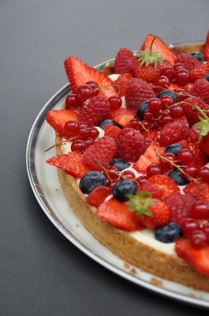 Tarte aux fruits rouges, lemon curd et philadelphia