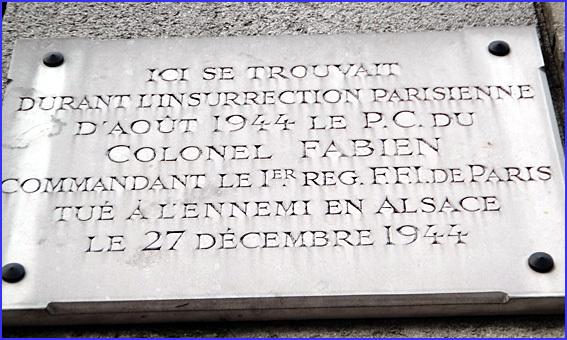Paris rue abbe de l epee pc colonel fabien