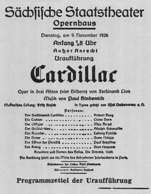 Programmzettel der Uraufführung Dresden 1926
