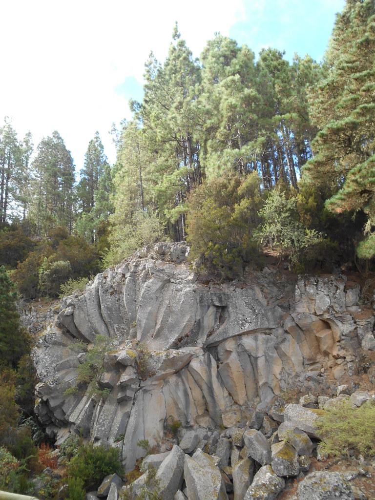 """""""La margarita de piedra"""". (prismes basaltiques dont la pierre solidifiée s'est effritée en lamelles)."""