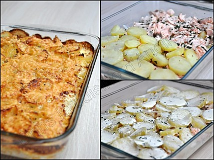 recette gratin su dois de pommes de terre au saumon frais. Black Bedroom Furniture Sets. Home Design Ideas