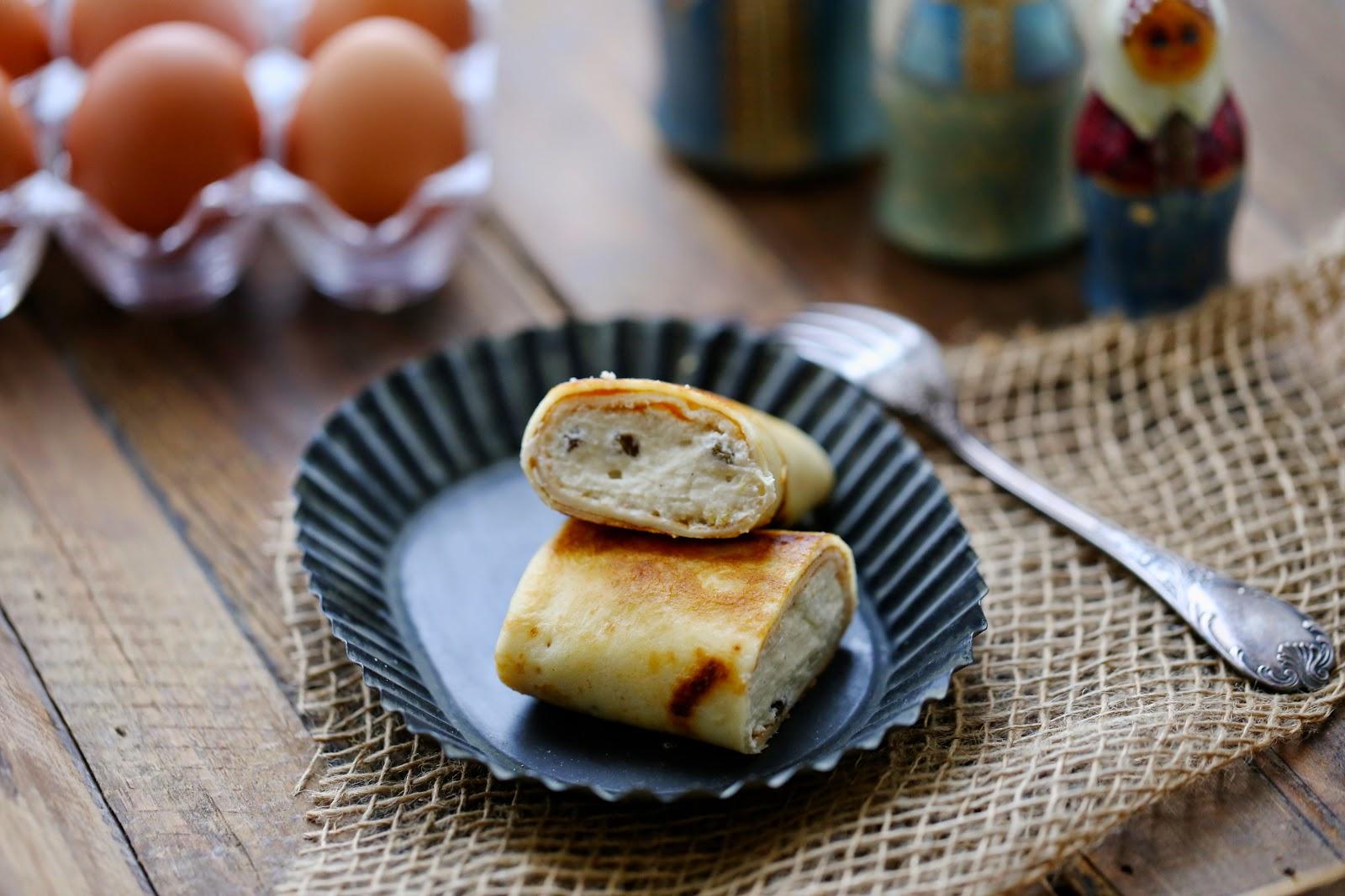 Blinchiki ; recette russe des crêpes au fromage blanc et aux raisins 6