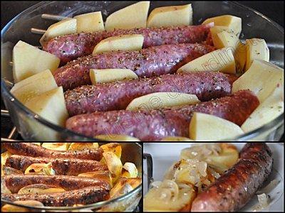 Saucisse de toulouse et pommes de terre au four recette du sud ouest ideoz voyages - Pomme de terre farcie chair a saucisse ...