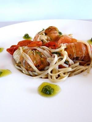 spaghetto pesto langoutines recette italienne