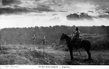 1ere guerre mondiale carte postale du front soir de bataille