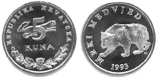 kunas monnaie croatie Pièce de 5 lipas cout de la vie croatie