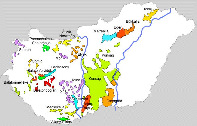 vins hongrois Régions des cépages : cliquez sur la carte pour l'agrandir - (Crédit photo http://www.vinimum.com)