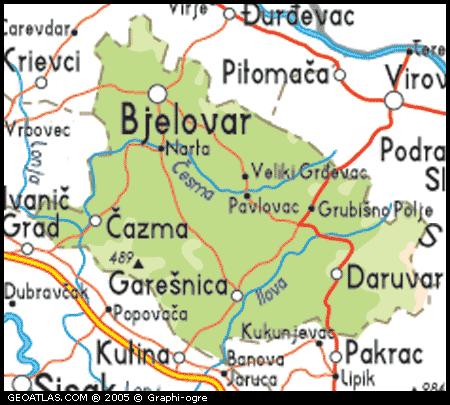 Environs de Bjelovar carte
