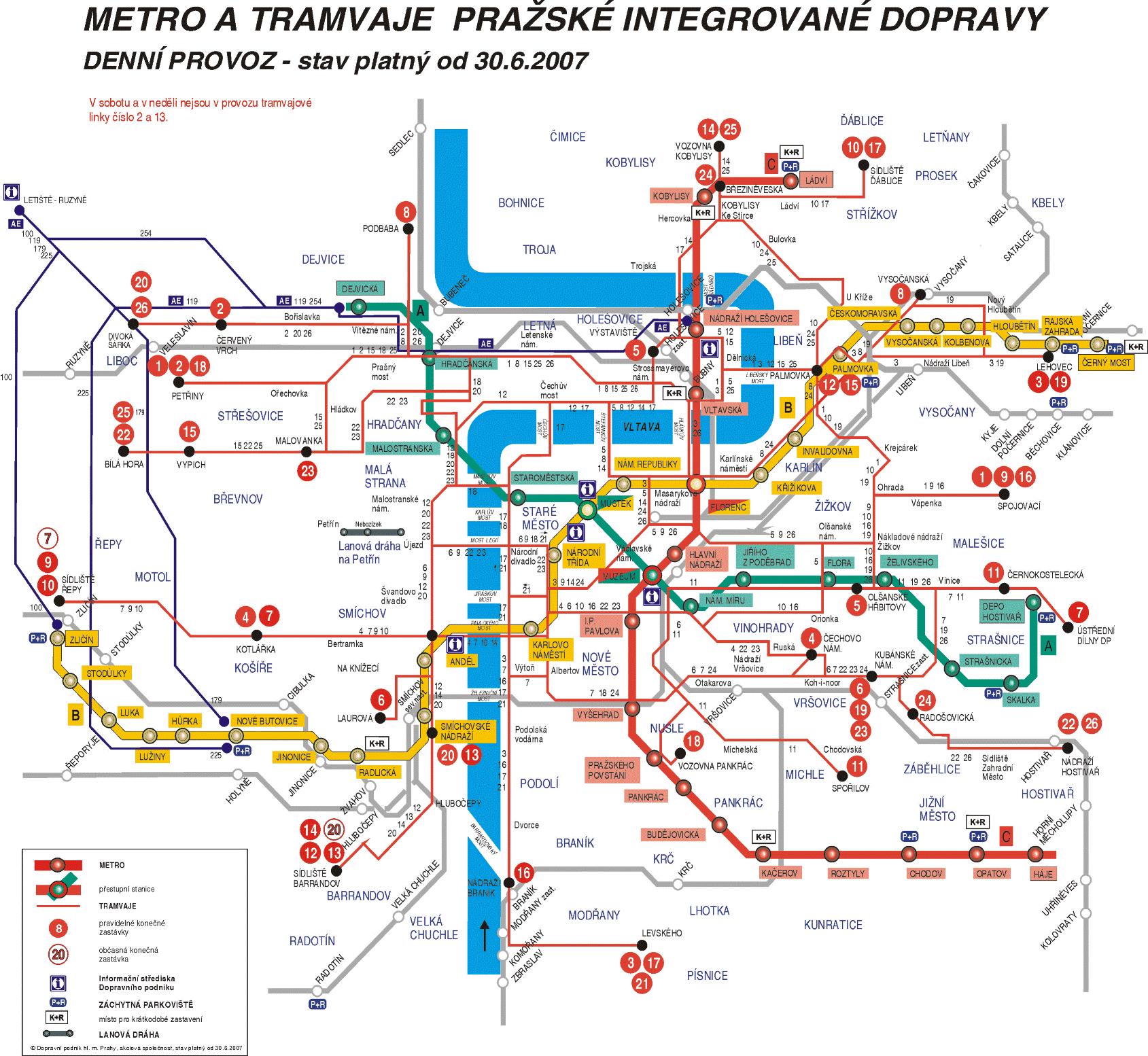 Plan du métro de Prague - Cliquez sur l'image pour l'agrandir