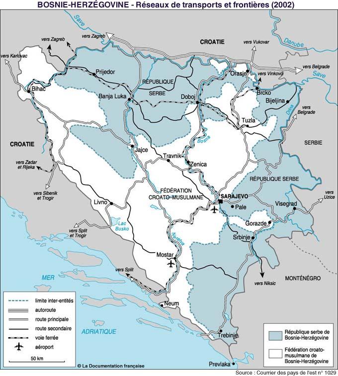 carte réseau routier bosnie