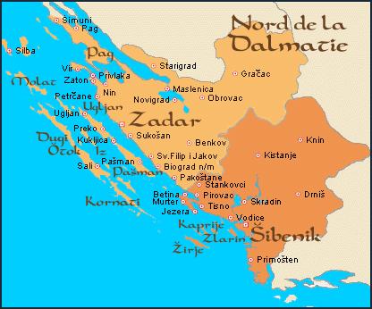 carte dalmatie nord