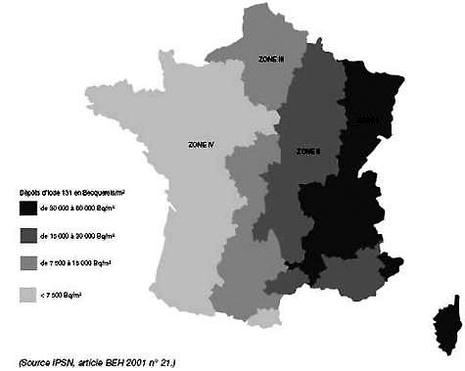 Tchernobyl carte contamination en France