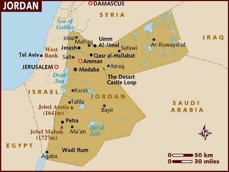 carte jordanie1 Petra ; le mythique trésor de  Jordanie