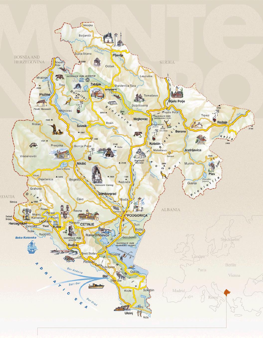 carte montenegro tourisme