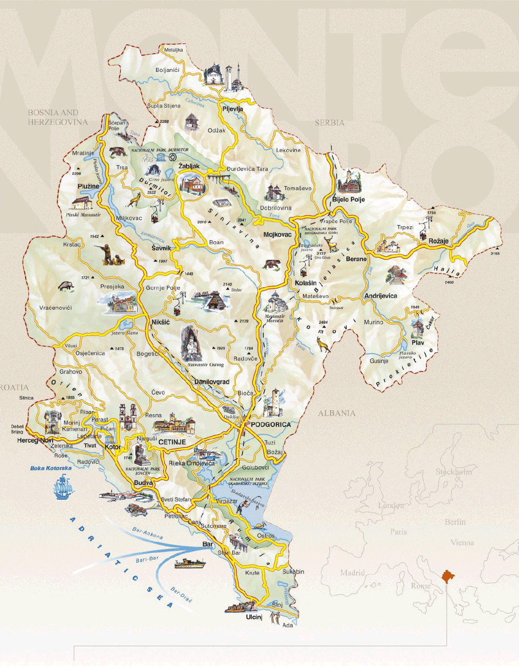 visiter le montenegro carte touristique