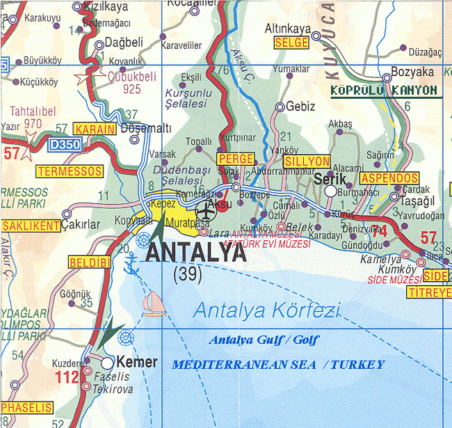 antalya riviera carte turquie