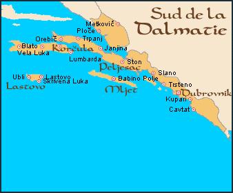 carte dalmatie du sud