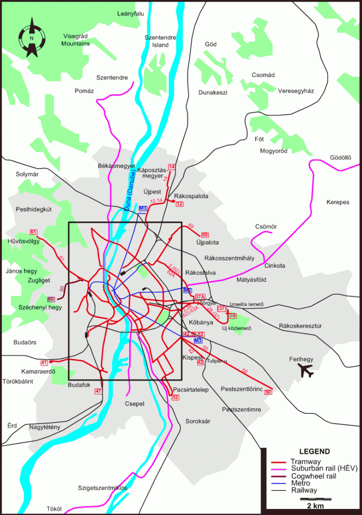 plan transports en commun budapest