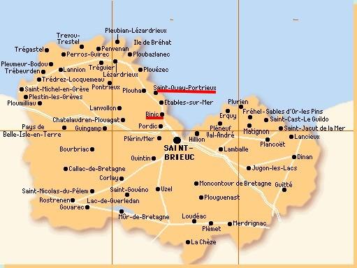 carte côtes d'Armor Binic - St Quay Portieux