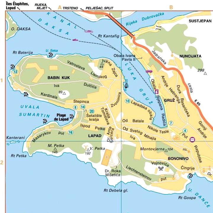 Plan de la ville moderne de Dubrovnik