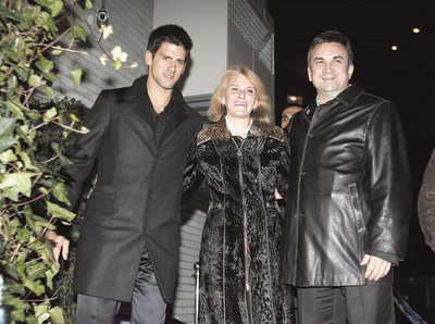 Novak Djokovic et ses parents, Srjdan et Dijana