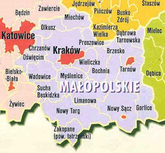 petite pologne carte Malopolska