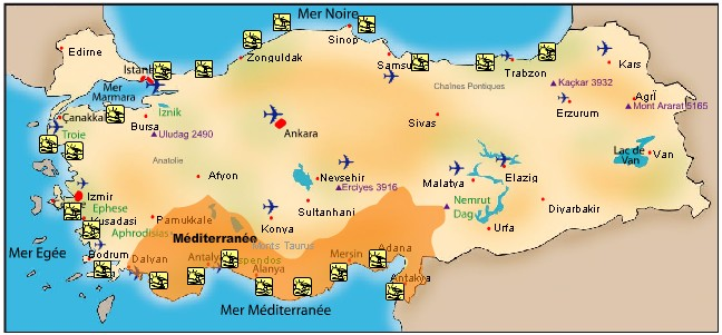 riviera turque carte turquie mediterranee