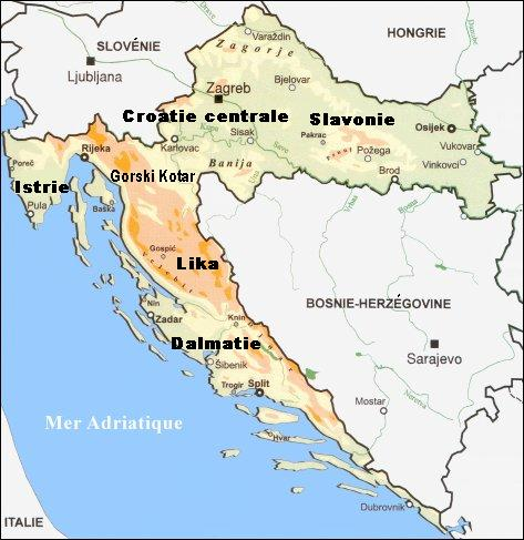carte croatie regions