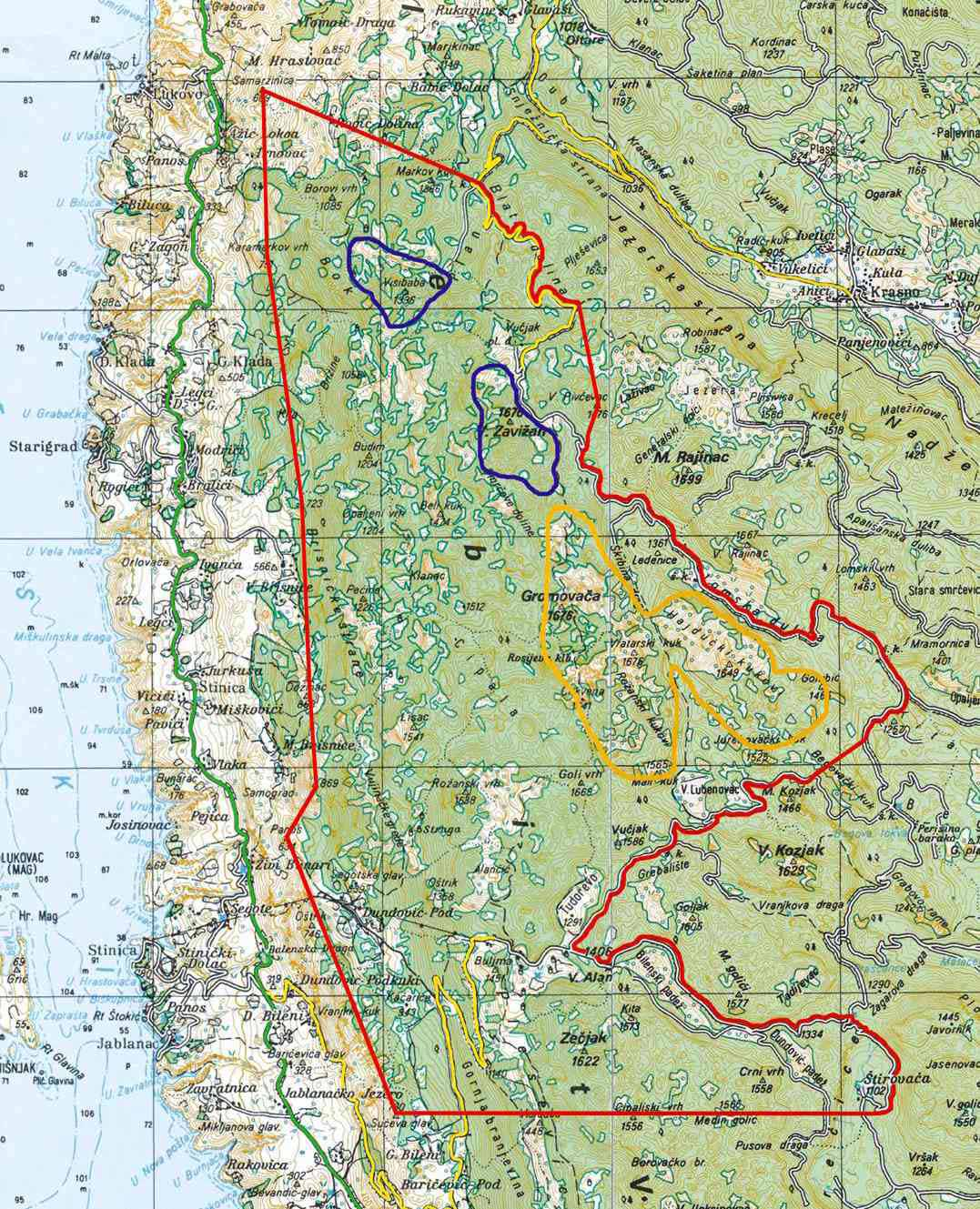 carte velebit parc nationale en croatie