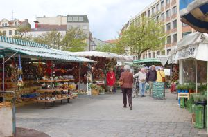 viktualienmarken à Munich , le marché des victuailles