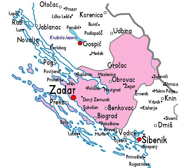 zadar carte croatie region