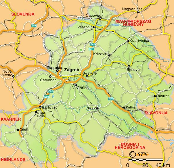 Croatie centrale Carte