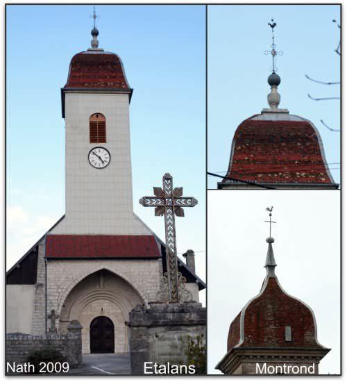 clochers renovés à étalans et montrond