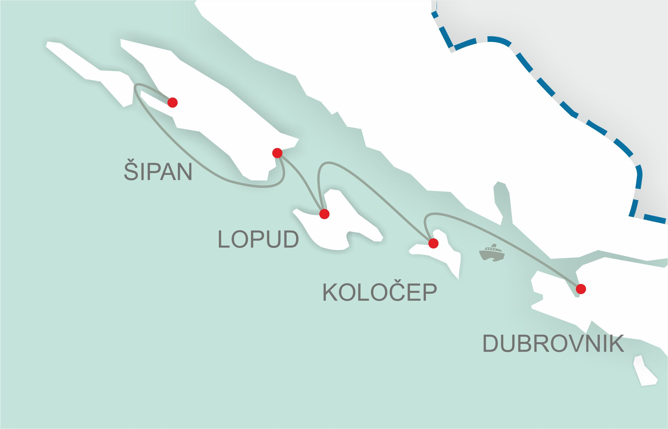 Ferries dubrovnik Elaphites carte
