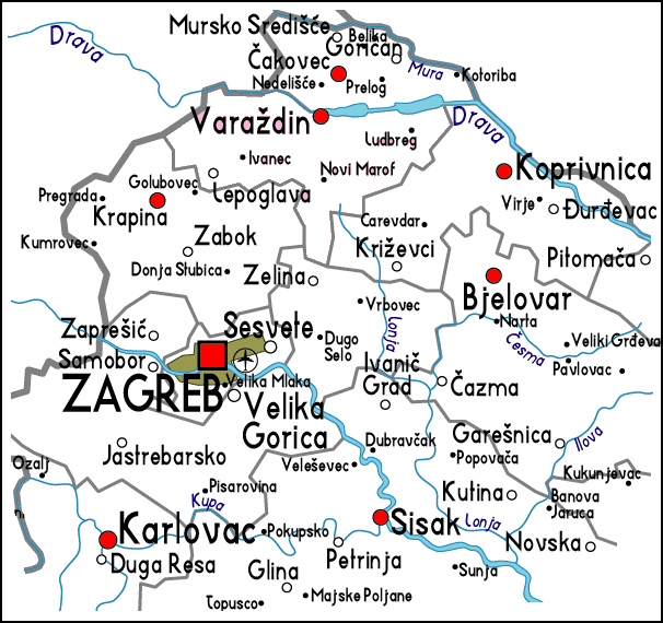 carte croatie centrale