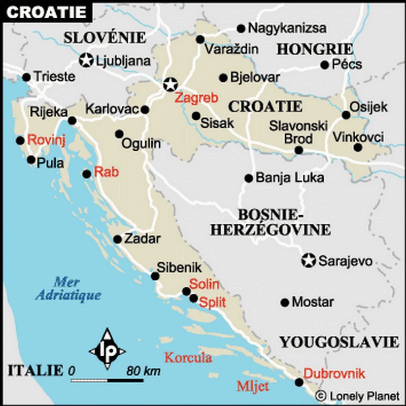 Carte Croatie villes