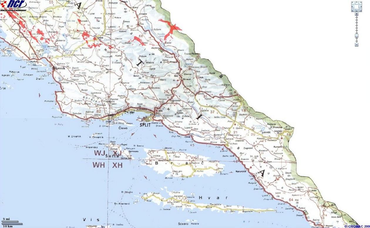 Carte Mines Croatie Dalmatie Nord