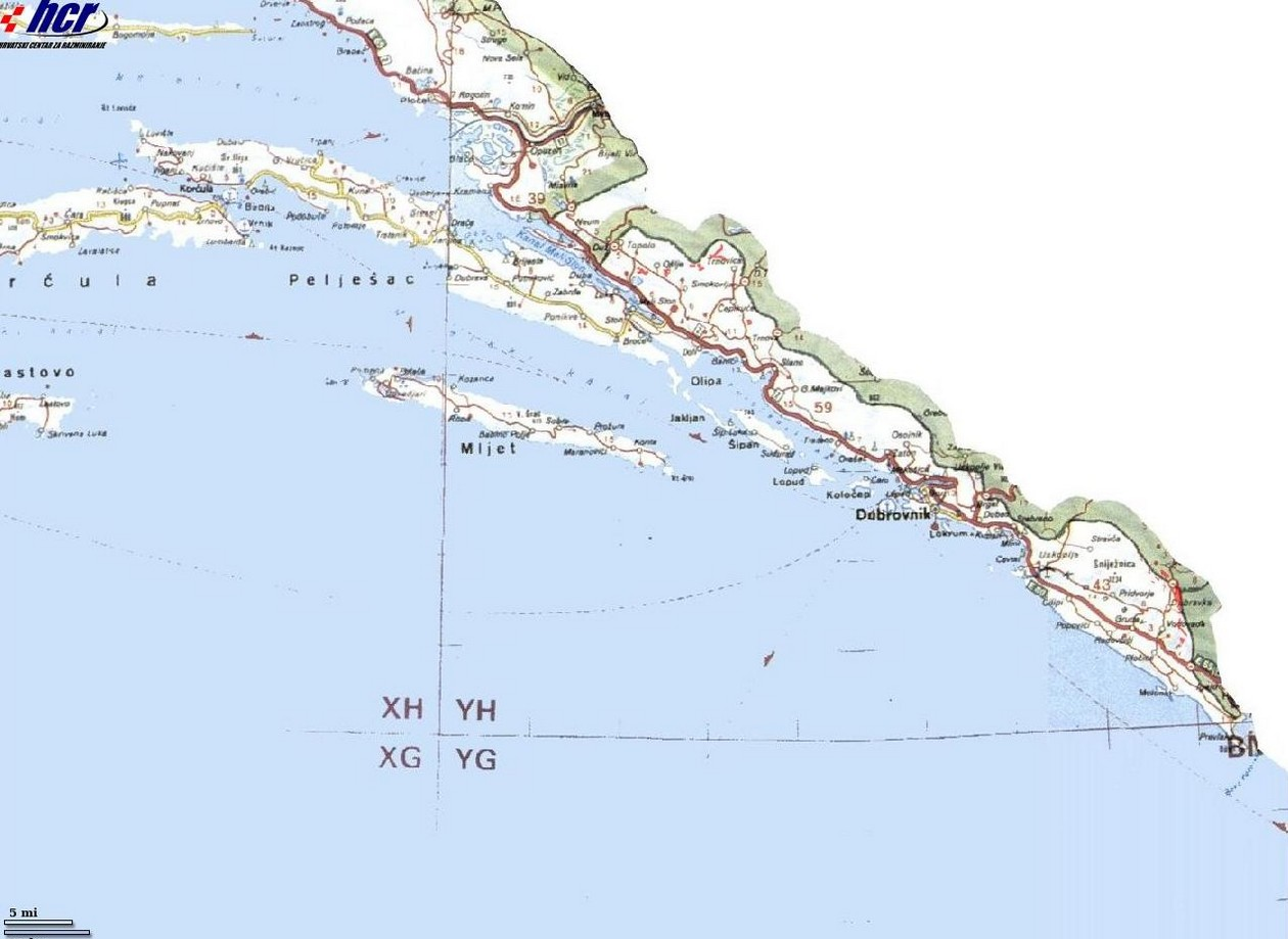 Carte Mines Croatie Dalmatie du Sud