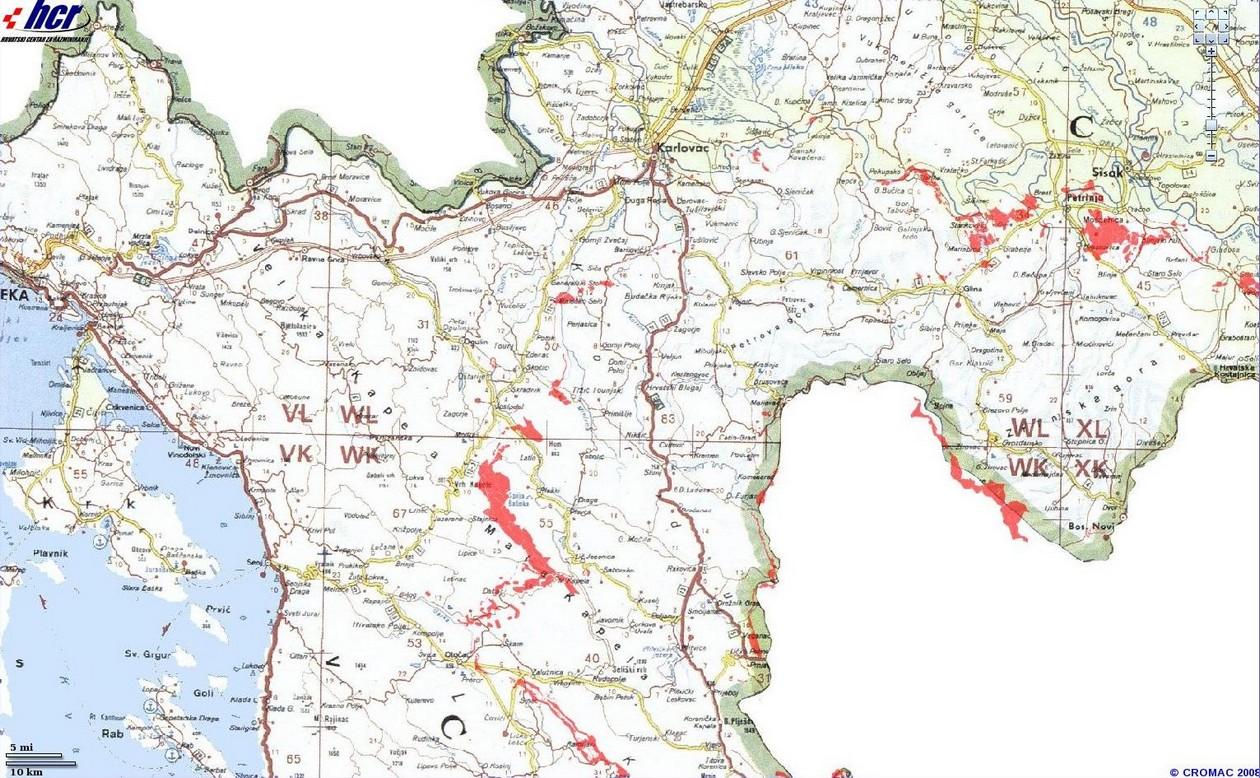 carte mines croatie lika karlovac