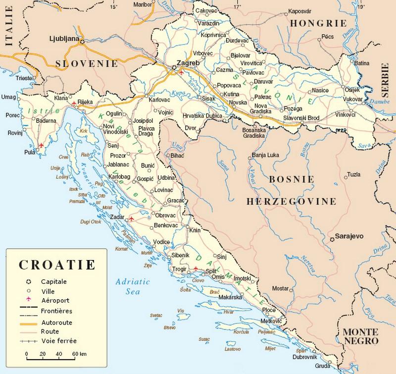 Carte générale de Croatie