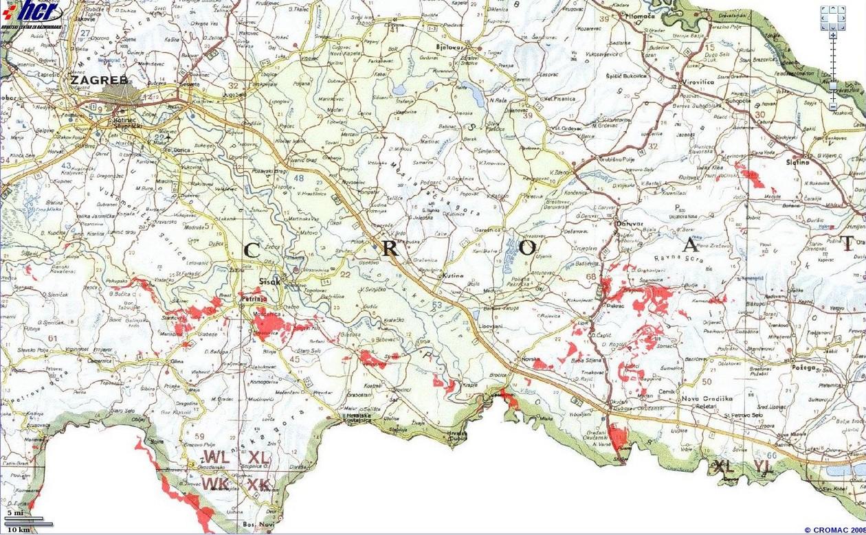 carte mines croatie centrale