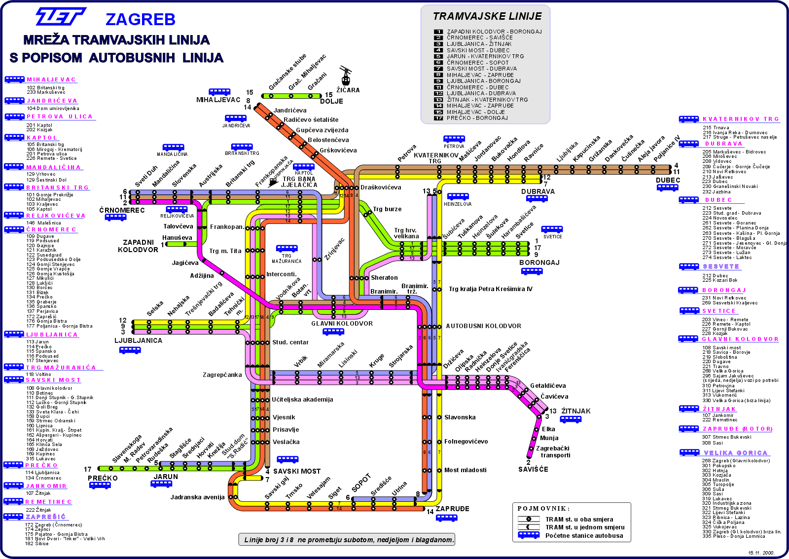 Transport Zagreb Plan des trams